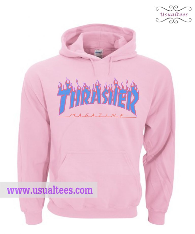Thrasher Flame Light Pink Hoodie